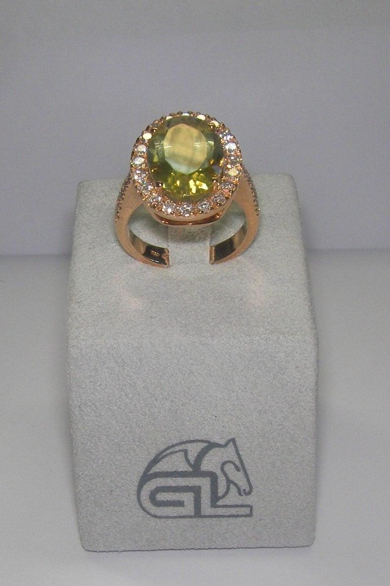 Modern 18 Karat Rose Gold Diamond and Citrine Cocktail Ring For Sale