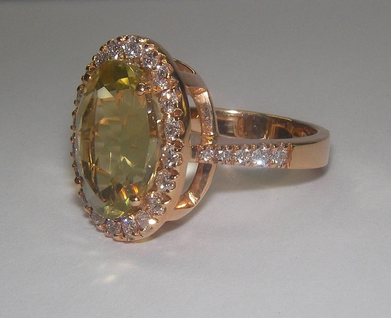 Oval Cut 18 Karat Rose Gold Diamond and Citrine Cocktail Ring For Sale