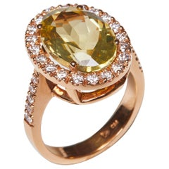 18 Karat Rose Gold Diamond and Citrine Cocktail Ring