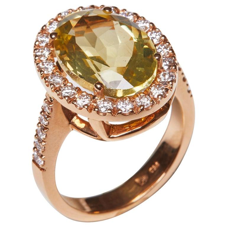 18 Karat Rose Gold Diamond and Citrine Cocktail Ring For Sale