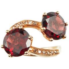18 Karat Rose Gold Diamond and Garnet Coktail Ring