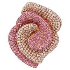 18 Karat Rose Gold Diamond and Pink Sapphire Ring