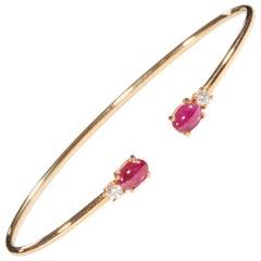 18 Karat Rose Gold Diamond and Ruby Bracelet
