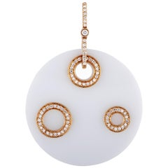 18 Karat Rose Gold Diamond and White Onyx Pendant