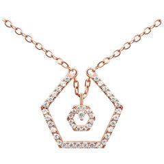 18 Karat Rose Gold Diamond Baby Halo Necklace