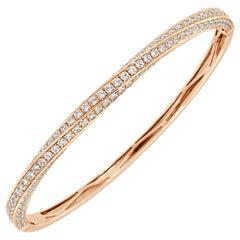 18 Karat Rose Gold Diamond Bangle '3 Carat'