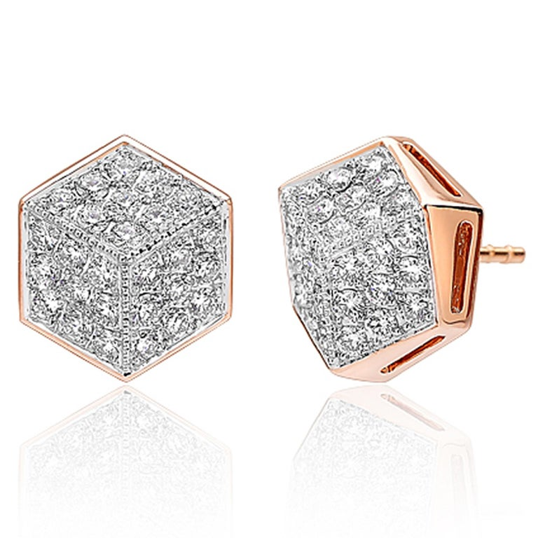 18kt rose gold Brillante® stud earrings with pave-set round brilliant diamonds.  Translated from a quintessential Venetian motif, the Brillante® jewelry collection combines strong jewelry design, cutting edge technology and fine engineering.  A