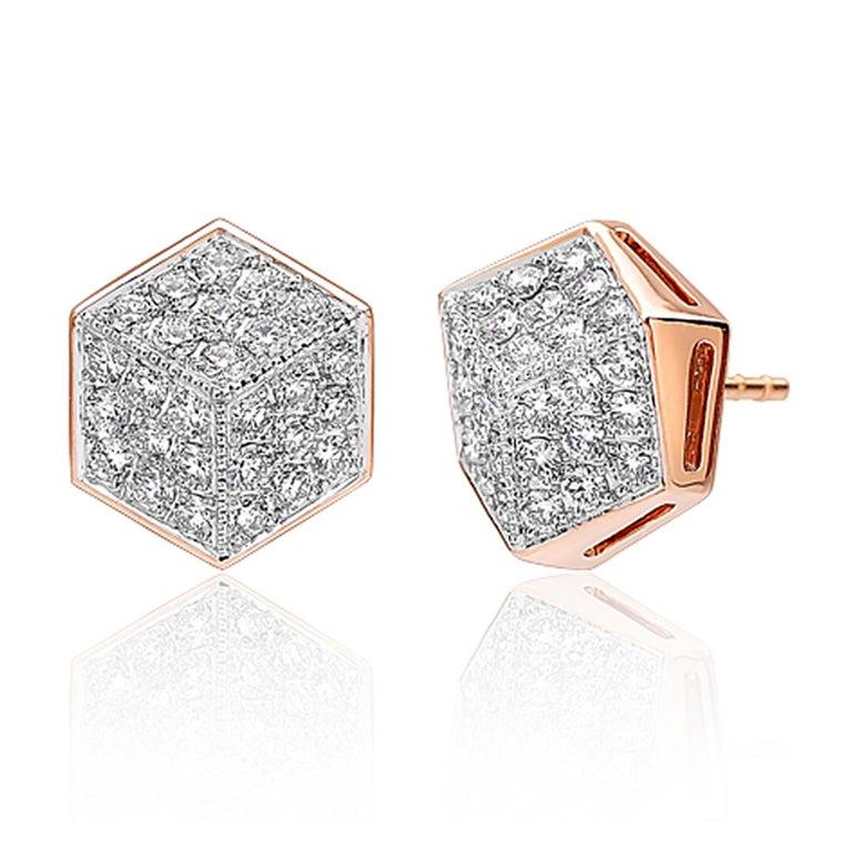 Contemporary Paolo Costagli 18 Karat Rose Gold Diamond Brillante Stud Earrings For Sale