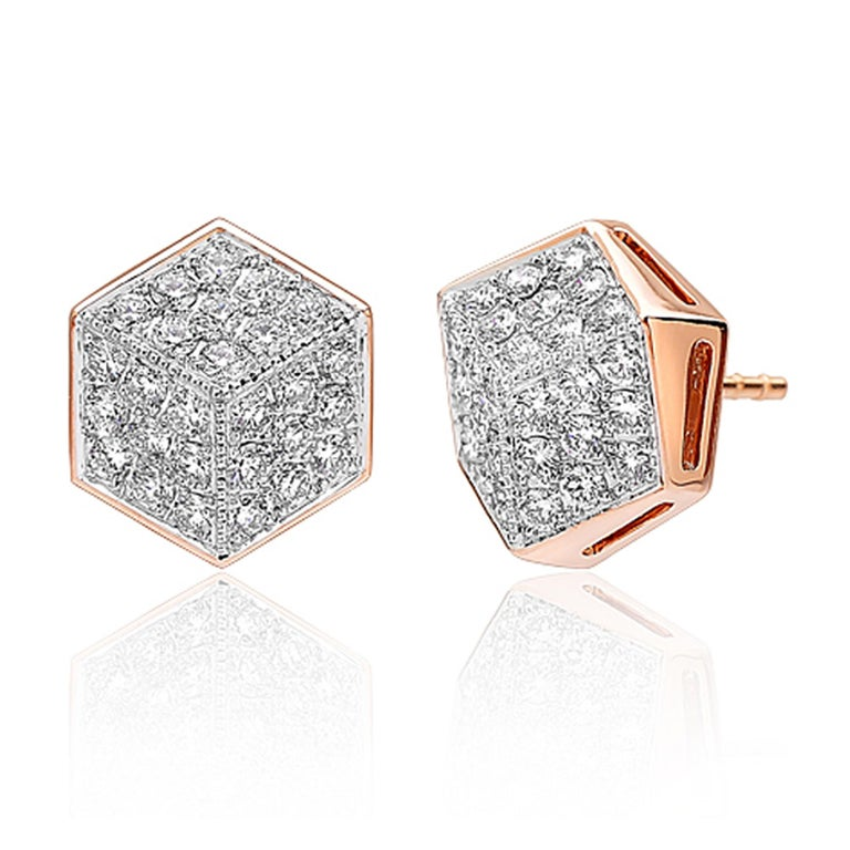 Paolo Costagli 18 Karat Rose Gold Diamond Brillante Stud Earrings In New Condition For Sale In New York City, NY