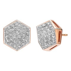 Paolo Costagli 18 Karat Rose Gold Diamond Brillante Stud Earrings