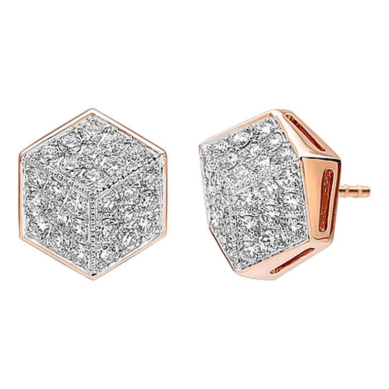 Paolo Costagli 18 Karat Rose Gold Diamond Brillante Stud Earrings For Sale