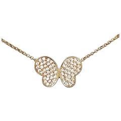 """18 Karat Rose Gold Diamond """"Butterfly"""" Necklace"""