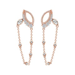 18 Karat Rose Gold Diamond Chain Leaf Earrings
