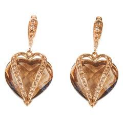 18 Karat Rose Gold Diamond Cognac and Quartz Fume Dangle Earrings