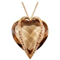 18 Karat Rose Gold Diamond Cognac and Quartz Fume Pendant Necklace