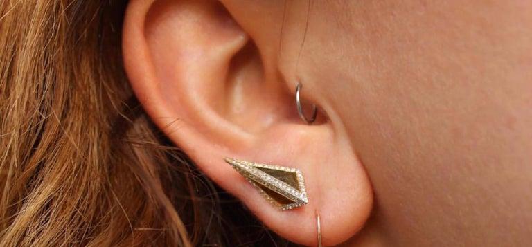 Contemporary 18 Karat Rose Gold Diamond Contour Isosceles Studs For Sale