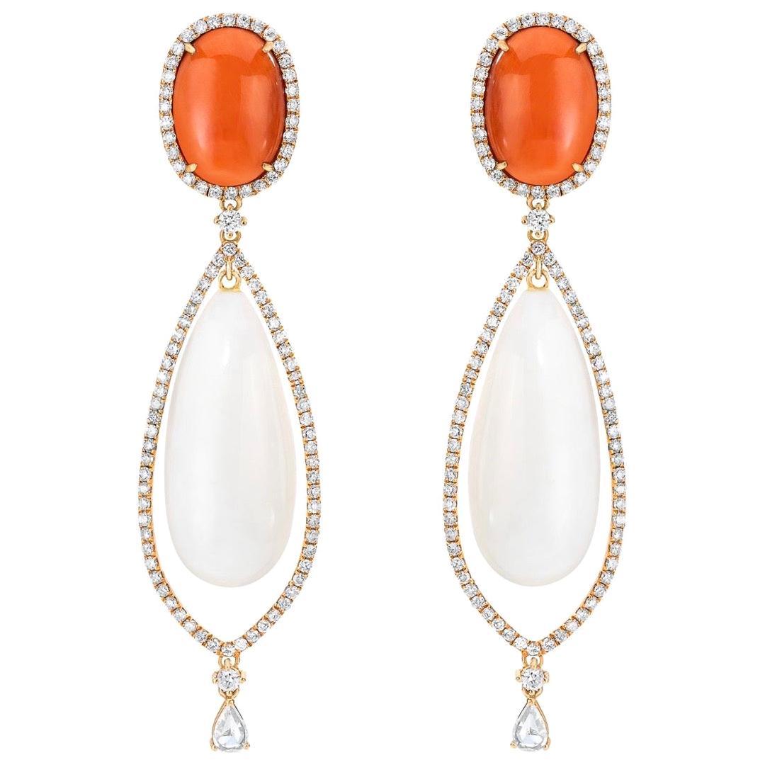 18 Karat Rose Gold Diamond Coral Dangling Earrings