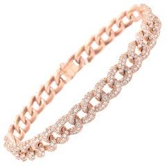 18 Karat Rose Gold Diamond Cuban Link Bracelet
