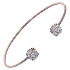 18 Karat Rose Gold Diamond Cuff Bracelet