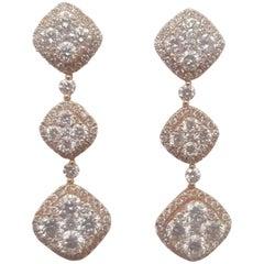 18 Karat Rose Gold Diamond Dangle Pierced Earrings
