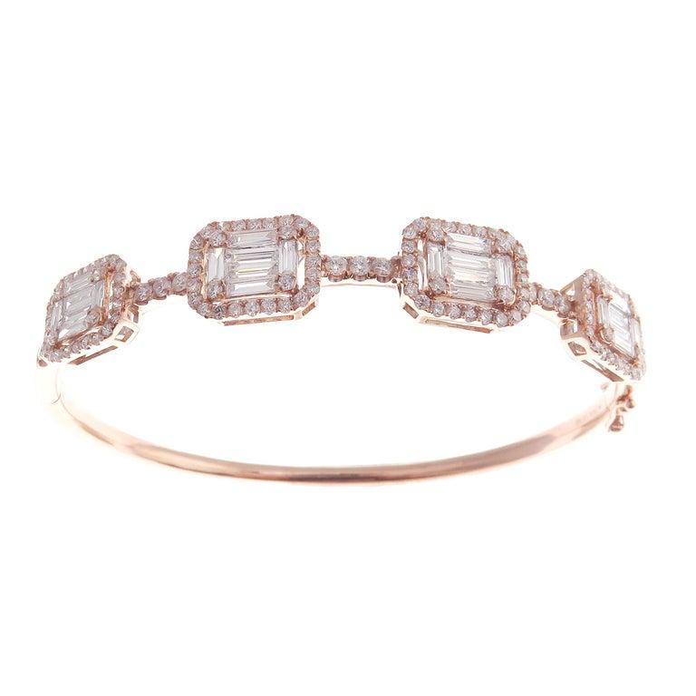 Baguette Cut 18 Karat Rose Gold Diamond Delicate Baguette Bangle Bracelet For Sale