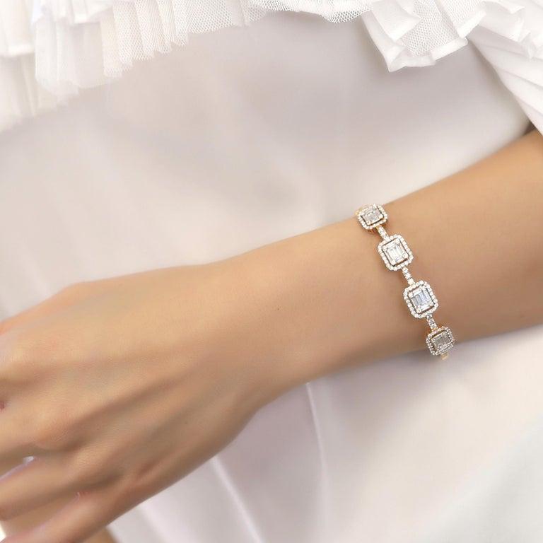18 Karat Rose Gold Diamond Delicate Baguette Bangle Bracelet In New Condition For Sale In Los Angeles, CA