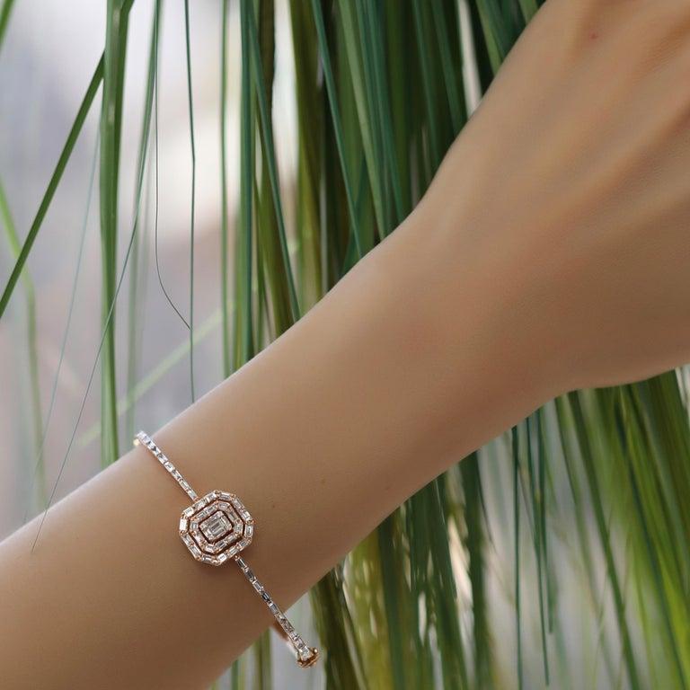 Women's or Men's 18 Karat Rose Gold Diamond Delicate Baguette Bangle Bracelet For Sale