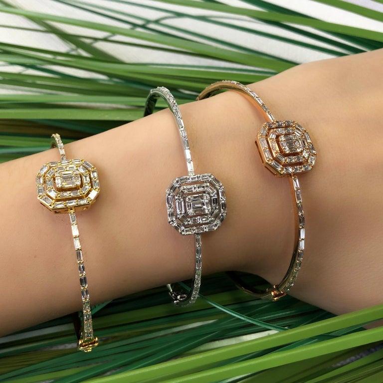 18 Karat Rose Gold Diamond Delicate Baguette Bangle Bracelet For Sale 1