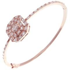 18 Karat Rose Gold Diamond Delicate Baguette Bangle Bracelet