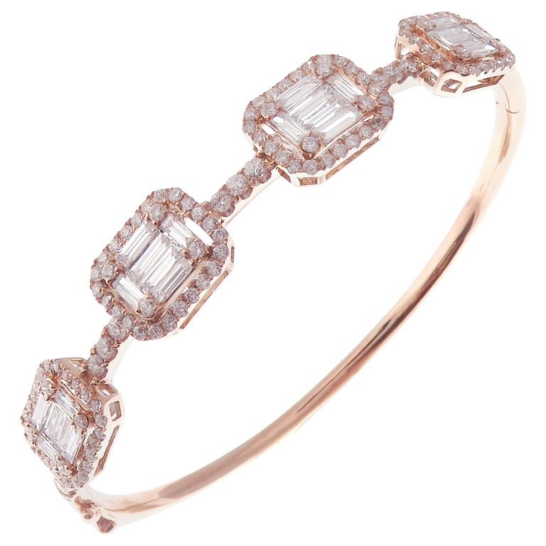 18 Karat Rose Gold Diamond Delicate Baguette Bangle Bracelet For Sale