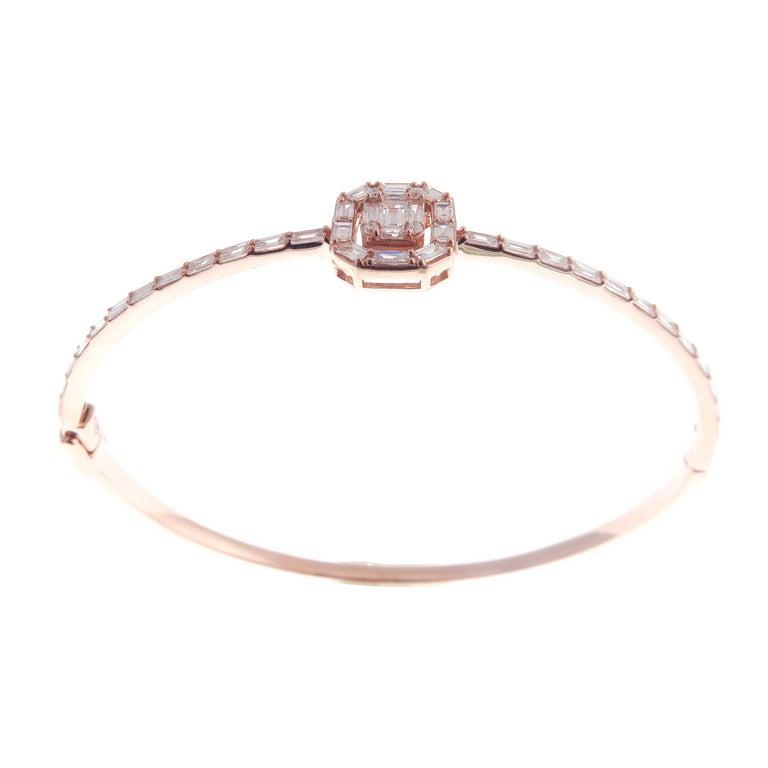 Baguette Cut 18 Karat Rose Gold Diamond Delicate Square Baguette Bangle Bracelet For Sale