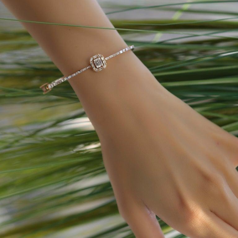 Women's or Men's 18 Karat Rose Gold Diamond Delicate Square Baguette Bangle Bracelet For Sale