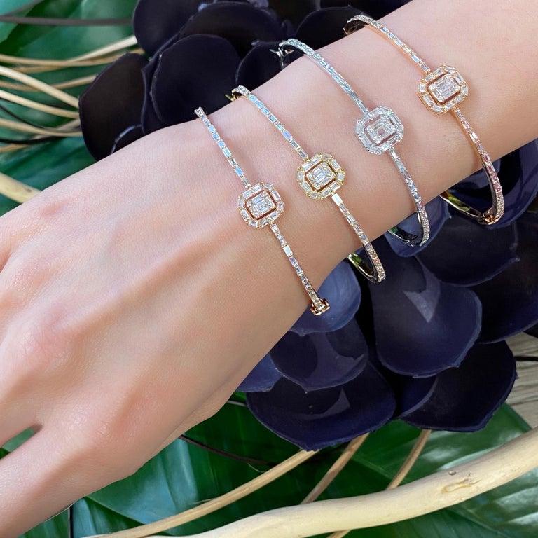 18 Karat Rose Gold Diamond Delicate Square Baguette Bangle Bracelet For Sale 1