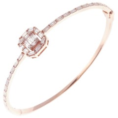 18 Karat Rose Gold Diamond Delicate Square Baguette Bangle Bracelet