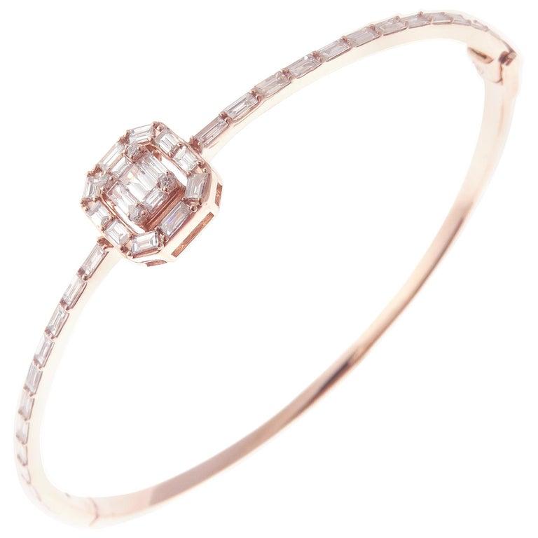 18 Karat Rose Gold Diamond Delicate Square Baguette Bangle Bracelet For Sale