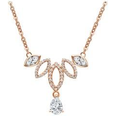 18 Karat Rose Gold Diamond Dew Drop Necklace