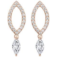 18 Karat Rose Gold Diamond Dew Drop Stud Earrings