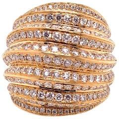 18 Karat Rose Gold Diamond Domed Cocktail Dinner Ring