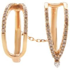 18 Karat Rose Gold Diamond Double Band Ring