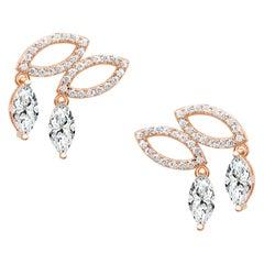 18 Karat Rose Gold Diamond Double Drop Stud Earrings