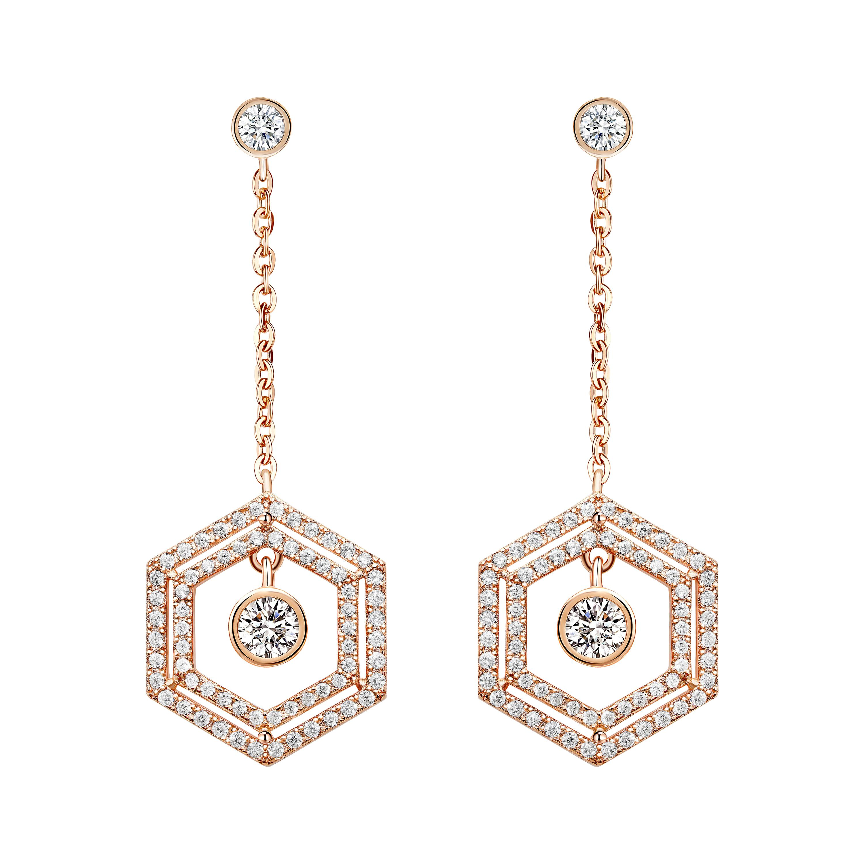 18 Karat Rose Gold Diamond Double Halo Earrings