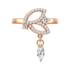 18 Karat Rose Gold Diamond Double Leaf Ring