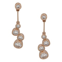 18 Karat Rose Gold Diamond Drop Earrings