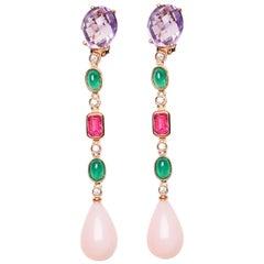 18 Karat Rose Gold Diamond Emerald Tourmaline Amethyst and Opal Dangle Earrings