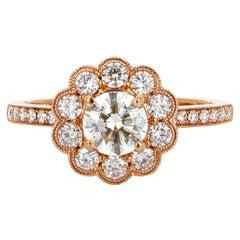 18 Karat Rose Gold Diamond Engagement Ring