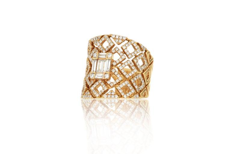 Contemporary 18 Karat Rose Gold Diamond Fashion Ring For Sale