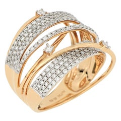 18 Karat Rose Gold Diamond Fashion Ring