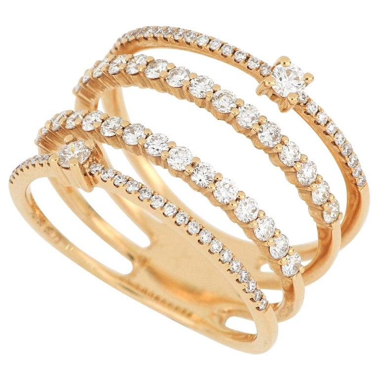 18 Karat Rose Gold Diamond Fashion Ring For Sale