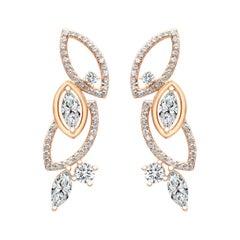 18 Karat Rose Gold Diamond Garden Earrings