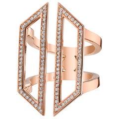 Diamond Armor Hexagon Ring 18K Rose Gold